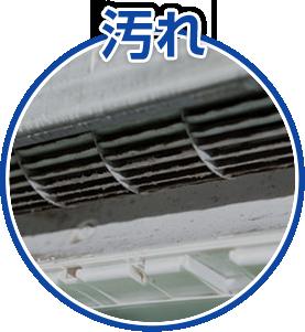 エアコンの中の ホコリ、汚れがひどい